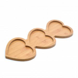 Platou din lemn pentru servire cu 3 compartimente, 34 cm
