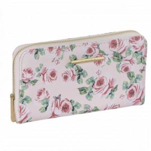Portofel elegant de dama, Pufo Floral, roz, 19 cm