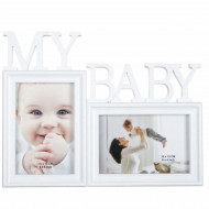 Rama foto decorativa cu 2 poze, model Pufo MyBaby, 31 x 24 cm, alb