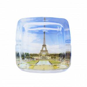 Scrumiera Pufo din sticla, model Turnul Eiffel, 9,5 cm