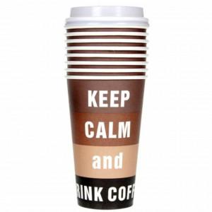 Set 10 pahare din carton cu mesaj Keep Calm & Drink Coffee, 460 ml