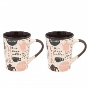 Set 2 cani ceramice pentru cafea, But first Coffee, 380 ml