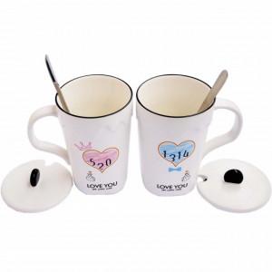 Set 2 cani pentru ceai sau cafea cu lingurita si capac, Love you, 300 ml, ceramica