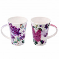 Set 2 cani portelan Purple flower, 375 ml, Pufo