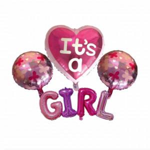 Set 4 baloane aniversare It's a Girl, roz, Pufo