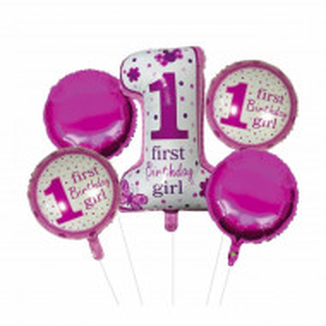 Set 5 baloane 1 Birthday Girl pentru prima aniversare sau petrecere, roz/ alb, Pufo