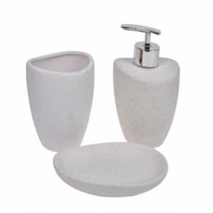 Set ceramica din 3 piese Pufo Care pentru baie, model cu puncte