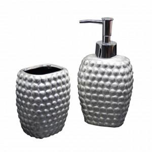 Set dispenser pentru sapun lichid si suport periuta de dinti Pufo Ellegant din ceramica, 2 piese, argintiu
