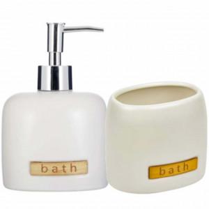 Set dispenser Pufo Gentle pentru sapun lichid si suport periuta de dinti, ceramica, 2 piese, alb