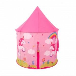 Spatiu de joaca cort pentru fetite, model castel, imprimeu cu unicorni, roz, utilizare interior/ exterior, Pufo
