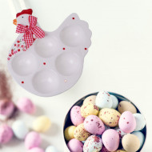Suport platou decorativ ceramica pentru 5 oua, model Gaina de Paste, 18 cm