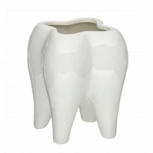 Suport Pufo in forma de dinte 3D pentru instrumente de scris sau perie de dinti, ideal pentru stomatologie, 12 x 9 cm, alb