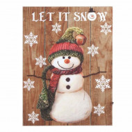 Tablou canvas decorativ Pufo cu leduri, model Happy Snowman, 40 x 30 cm
