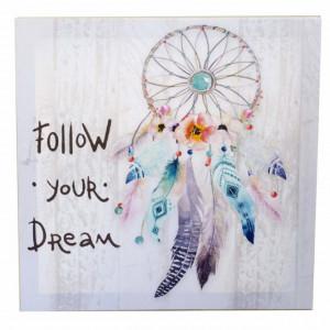 Tablou canvas decorativ Pufo, model Follow your dream, 30 cm