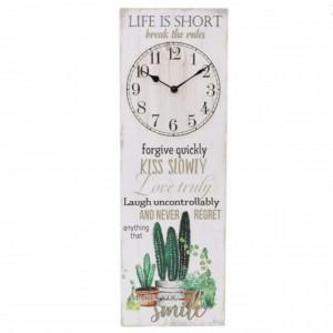 Tablou decorativ cu ceas incorporat si mesaj motivational, Break the rules, 60 x 20 cm, Pufo
