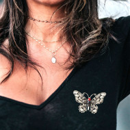 Brosa dama eleganta in forma de fluture cu pietricele, Butterfly with silver wings