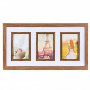 Cadru rama foto decorativa Pufo din lemn, 3 locuri, 43 x 24 cm