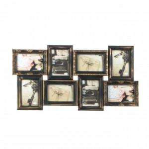 Cadru rama foto Pufo vintage cu model in relief, 8 poze, bronz, 70 cm