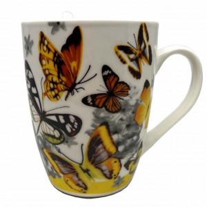 Cana ceramica pentru cafea sau ceai cu lingurita, model Orange Butterfly, 11 cm