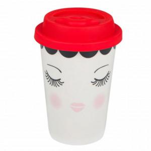 Cana ceramica Pufo Beautiful pentru cafea sau ceai cu capac din silicon, 475 ml