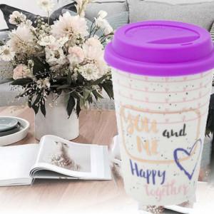 Cana ceramica Pufo You & Me pentru cafea sau ceai cu capac din silicon, 400 ml