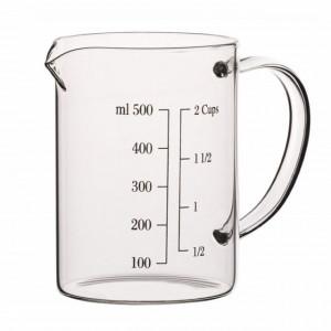 Cana gradata de masurare din sticla borosilicata, 500 ml, transparent