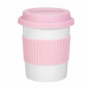 Cana Pufo pentru cafea cu capac si protectie termica din silicon, 300 ml, roz