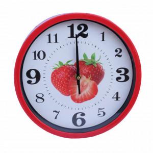Ceas decorativ de perete Pufo Fruits, model Strawberry, 25 cm, rosu