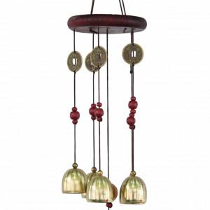 Clopotel de vant cu 4 tuburi sonore metalice pentru noroc si prosperitate, model Feng Shui cu 5 clopotei si monede aurii