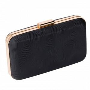 Clutch elegant de dama, model Pufo Black Exclusive, 20 cm