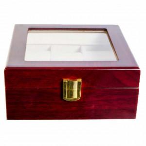 Cutie caseta din lemn pentru depozitare si organizare 6 ceasuri, model Pufo Premium, visiniu