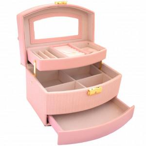Cutie eleganta de dama Pufo Elegance pentru depozitare si organizare bijuterii si accesorii, model etajat, roz
