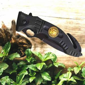 Cutit briceag tactic 23 cm, model Army Style - Black Marine, cu sistem de taiat centura si varf pentru spart geamuri