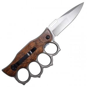 Cutit briceag tip pumnal, rozeta box cu insertii lemn, model Premium