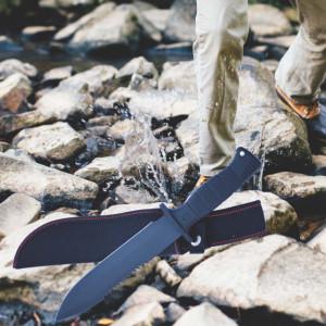 Cutit tactic 30 cm cu zimti si varf ascutit, maner ergonomic, teaca inclusa, model Premium, negru