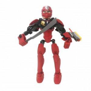 Figurina de jucarie Pufo Ninja, rosu, asamblabil, 21 cm