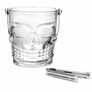 Frapiera Pufo din sticla pentru cuburi de gheata in forma de Craniu cu cleste metalic inclus, capacitate 900ml