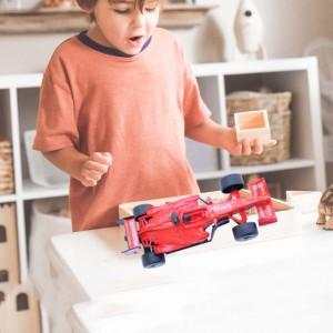 Masinuta pentru copii de Formula 1, Pufo, 17 cm, rosu