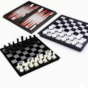 Mini set joc 3 in 1 de sah, dame, table pentru copii si adulti cu piese magnetice, 24,5 cm