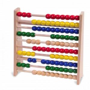 Numaratoare abac cu bile colorate din lemn, Pufo, 25 x 25 cm, multicolor
