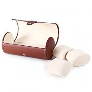 Pachet cutie caseta depozitare si transport pentru 3 ceasuri, maro + 1 ceas de dama Rebirth cadran lemn