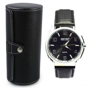 Pachet cutie caseta depozitare si transport pentru 3 ceasuri negru + ceas barbatesc elegant DEEP RED