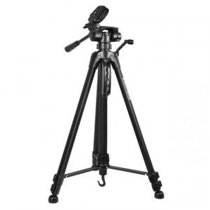 Pachet trepied foto telescopic Weifeng WT-3540 universal 61-157 cm + cutit de vanatoare 30 cm, negru cu teaca