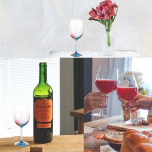 Pahar cu picior pentru apa, vin, cocktail, cu fund curcubeu, sticla, 500 ml, Pufo