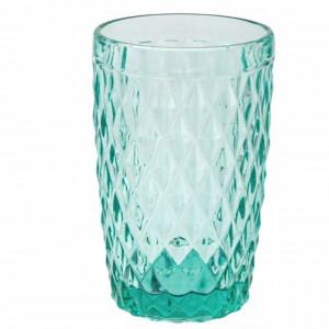 Pahar inalt Pufo Diamond pentru apa, suc, racoritoare, din sticla, 350 ml, verde