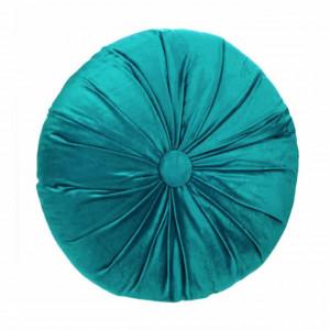 Perna decorativa rotunda Pufo din catifea cu buton, model Attraction velvet, pentru canapea, pat, fotoliu, turcoaz