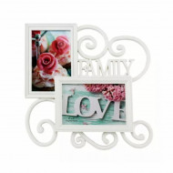 Rama foto decorativa cu 2 poze, model Love Family, 28 x 28 cm