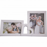 Rama foto decorativa cu 2 poze, model You love me, 35 cm
