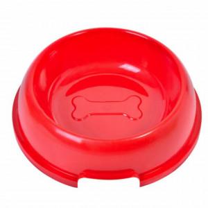 Recipient bol de apa sau mancare pentru pisici sau caini, Pufo Red, 20 cm, rosu