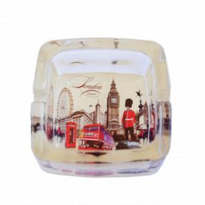 Scrumiera Pufo din sticla, model London vibe, 9,5 cm